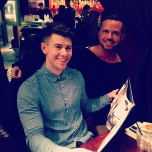 Jamie receiving a copy of my photobook