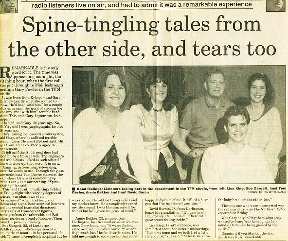 Newspaper clipping from TFM Radio Show, an investigation into the paranormal.